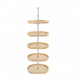 "20"" D-Shape Lazy Susan (Wood) - Five shelf pantry set"