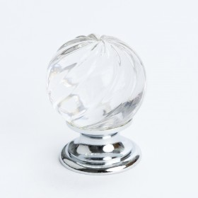 Europa Knob (Crystal Swirl W/Chrome Post) - 30mm