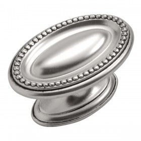 Altair Oval Knob (Satin Antique Silver) - 1-3/4""