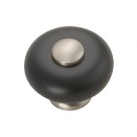 "Tranquility Knob (Satin Nickel w/ Black) - 1-1/4"""