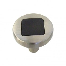 "Loft Knob (Satin Nickel w/Black) - 1"""