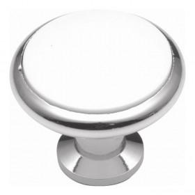 "Eclipse Knob (White Porcelain Chrome) - 1 3/8"""