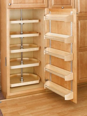 "20"" D-Shape Lazy Susan (Wood) - Five shelf pantry set"