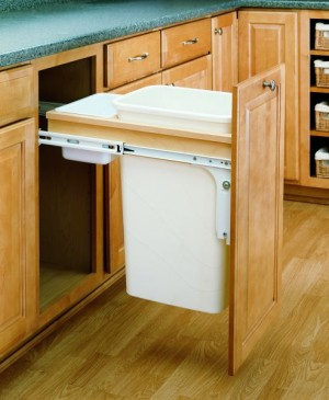 50 Qt Top Mount Wood Pull-Out Waste Container