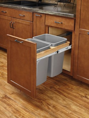 Double 27 Qt Top Mount Wood Pull-Out Waste Container (Soft Close)