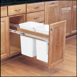 Double 27 Qt Top Mount Wood Pull-Out Waste Container