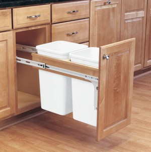 Double 27 Qt (Frameless) Top Mount Wood Pull-Out Waste Container