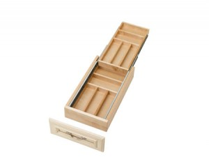 """11-1/2"""" Two Tiered Wood Cutlery Tray"""