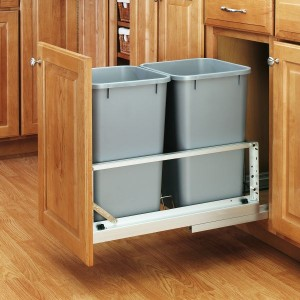 Double 27 Qt Waste Container (Metallic Silver)
