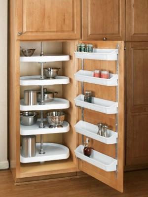 "22"" D-Shape Pantry Lazy Susan (Almond) - Five Shelf set"