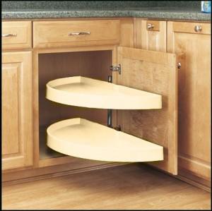 "13 1/4"" Pivot Out Half Moon Shelves (Almond)"