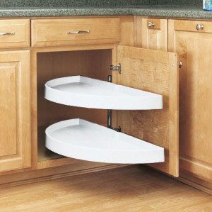 """13 1/4"""" Pivot and Bottom Slide Half Moon Pull Out (White)"""