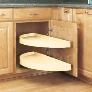 """16 1/8"""" Pivot and Bottom Slide Half Moon Pull Out (Almond)"""