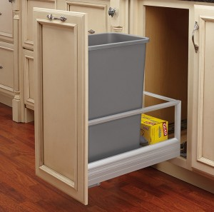 "Bottom Mount Pull-Out Waste Container w/ Soft Close Slides (18"" Depth)"