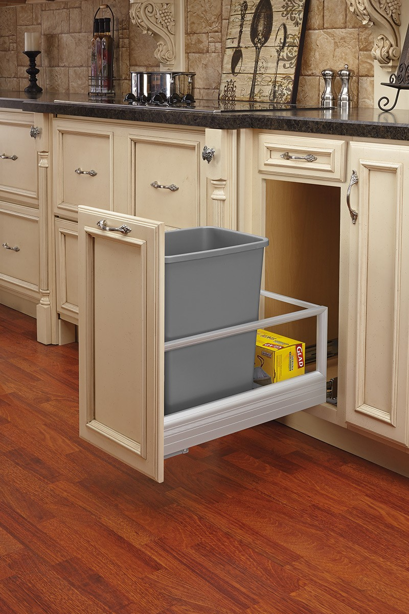 Single Bottom Mount Pull Out Waste Container W Soft Close