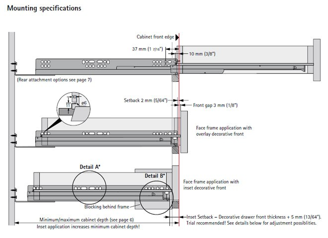 Hettich Quadro V6 Full Extension Under Mount Soft Close Drawer Slides 21 9134329