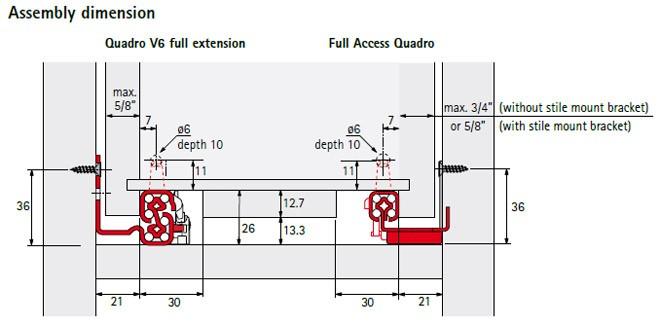 Quadro V6 Full Extension Soft Close Drawer Slides 24
